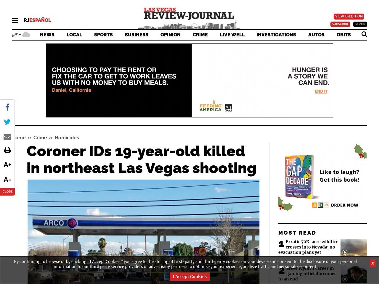 Coroner IDs 19-year-old killed in northeast Las Vegas shooting