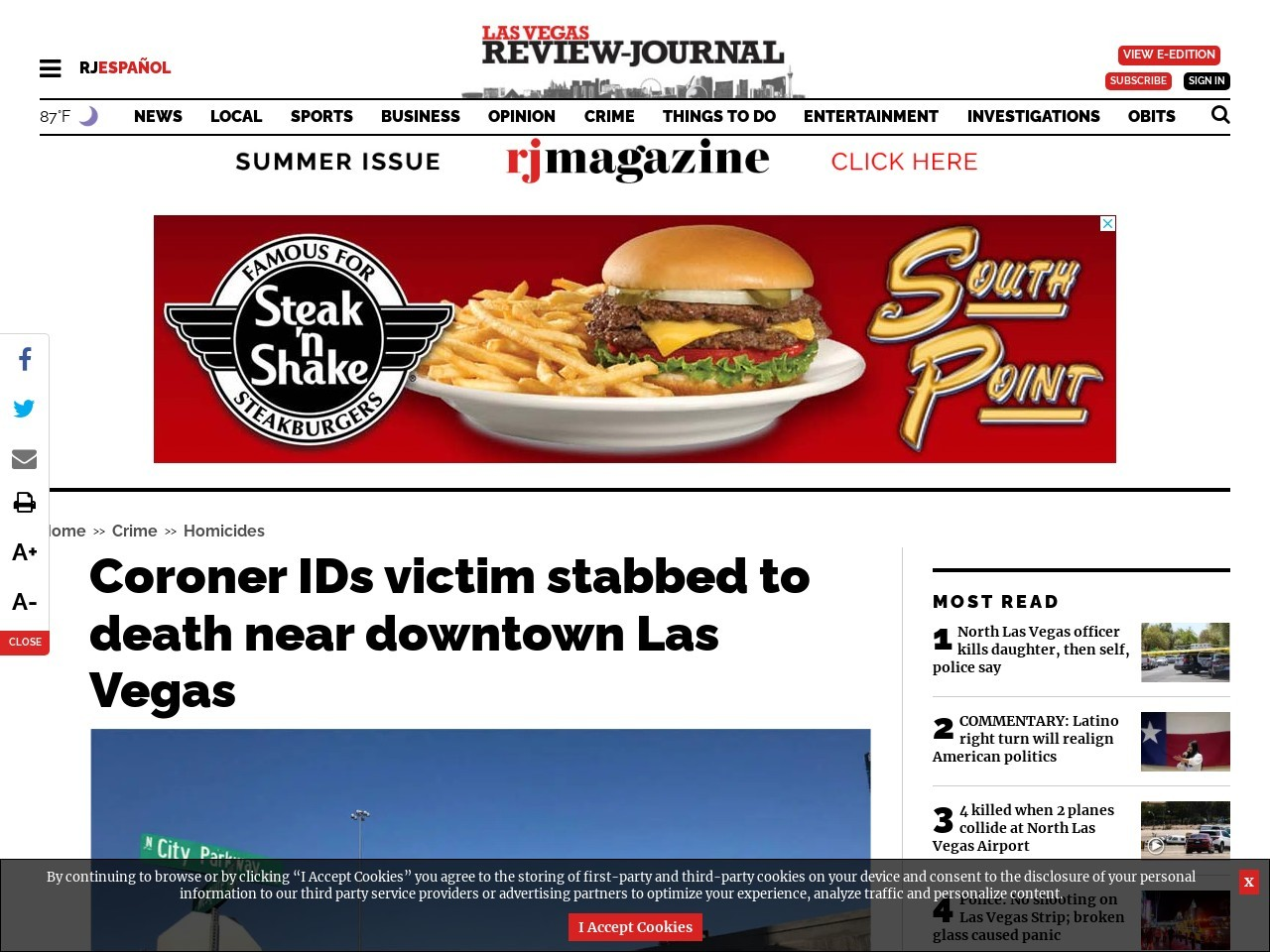 Coroner IDs victim stabbed to death near downtown Las Vegas