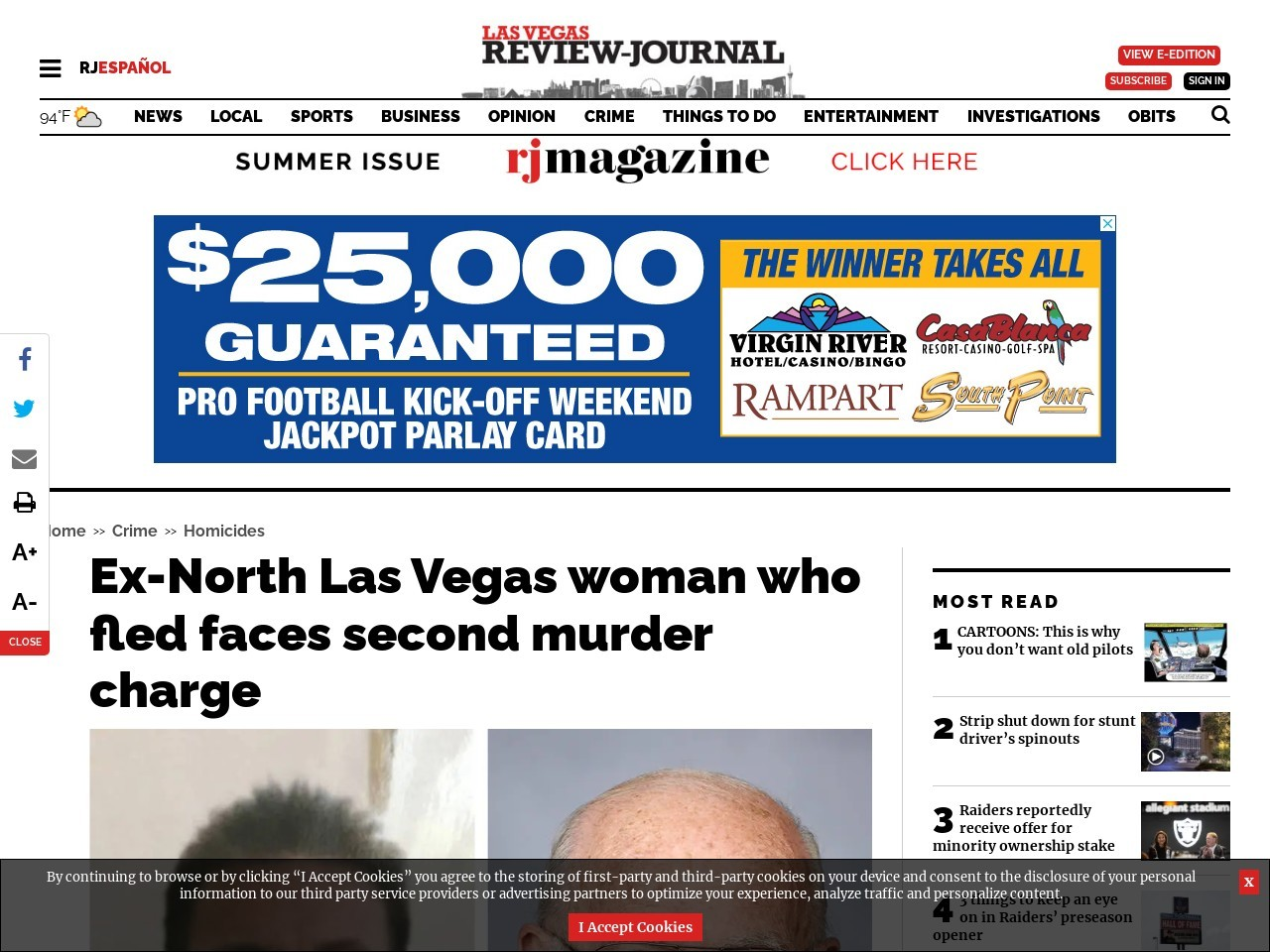 Ex-North Las Vegas woman who fled faces second murder charge