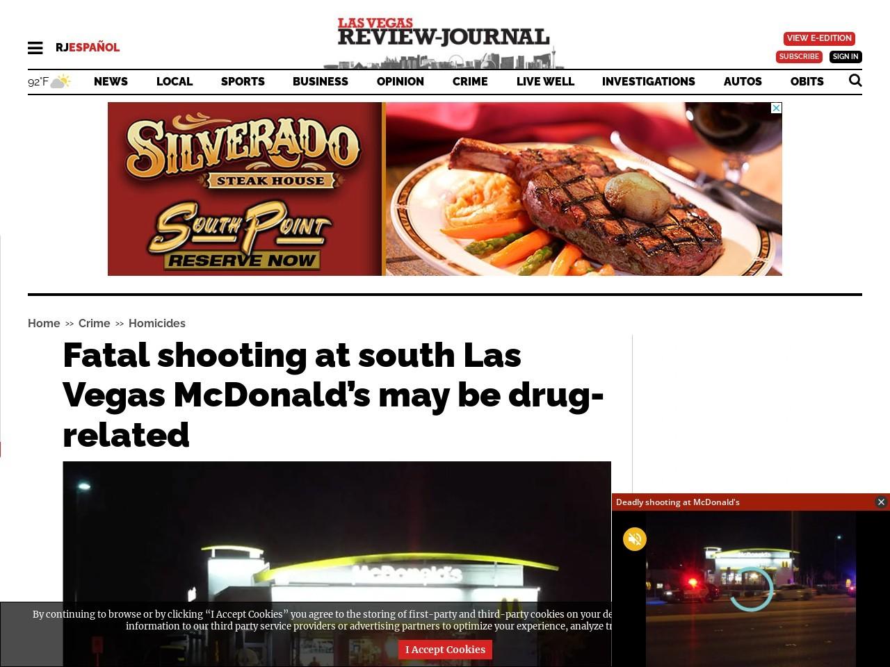 Fatal shooting at south Las Vegas McDonald's may be drug-related