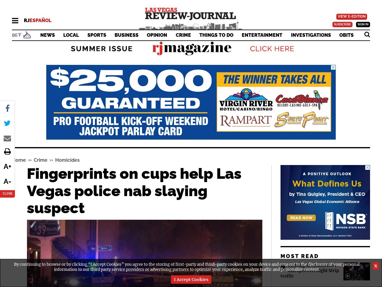 Fingerprints on cups lead Las Vegas police to slaying suspect