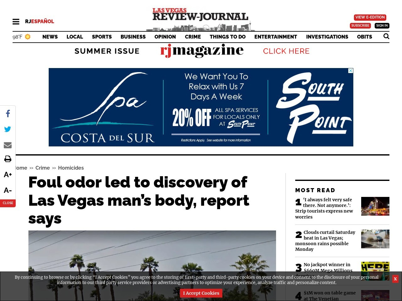 Foul odor led to discovery of Las Vegas man's body, report says