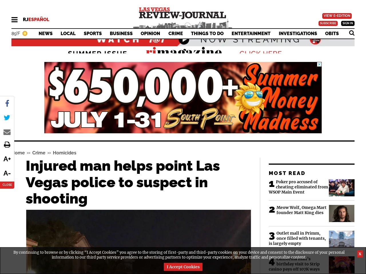 Injured man helps point Las Vegas police to suspect in shooting