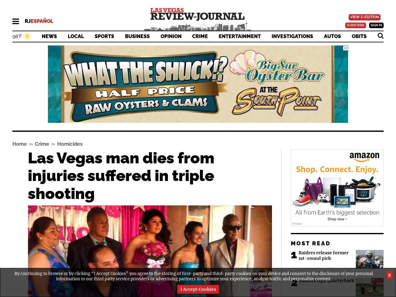 Las Vegas man dies from injuries suffered in triple shooting
