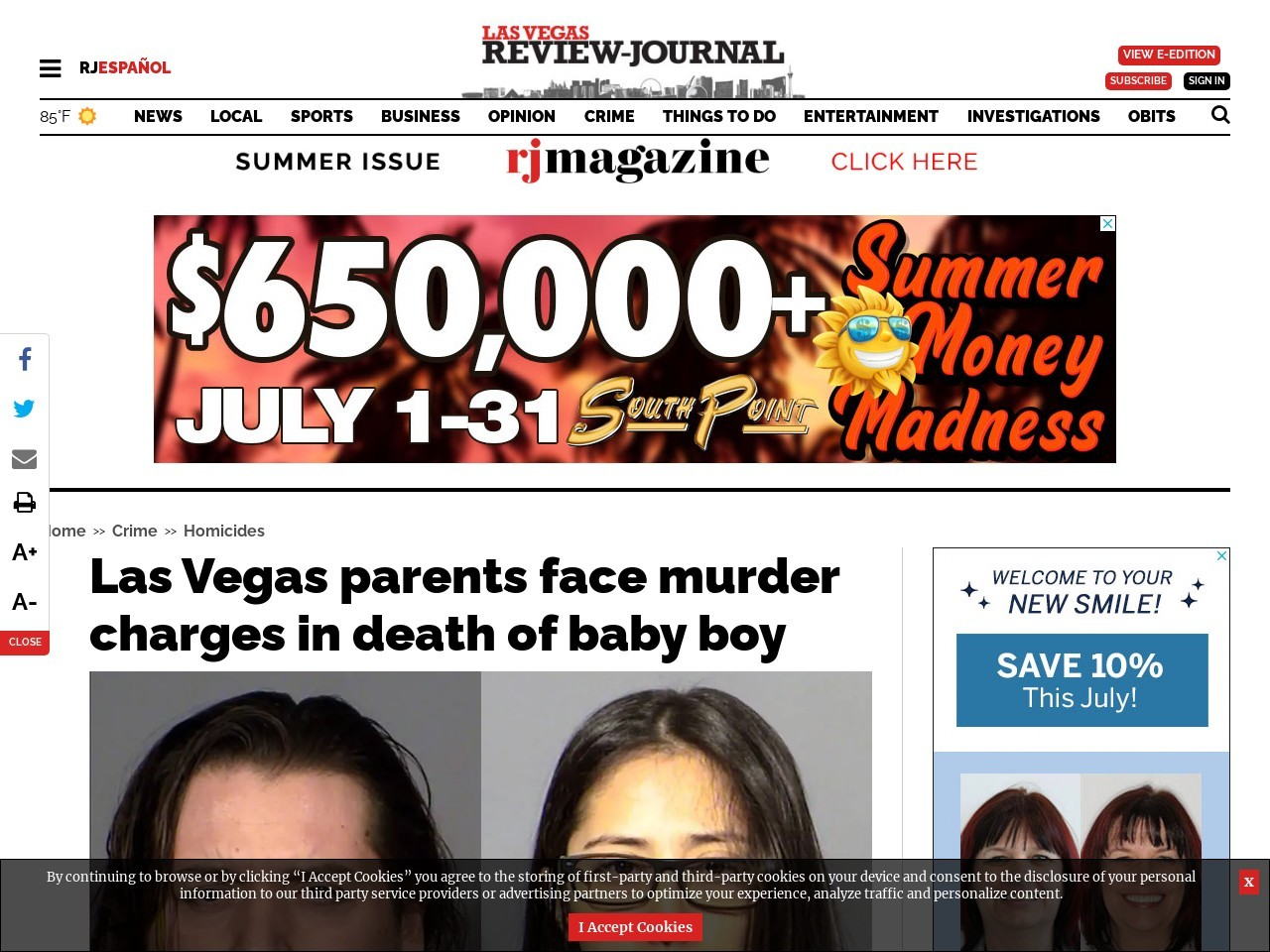 Las Vegas parents face murder charges in death of baby boy