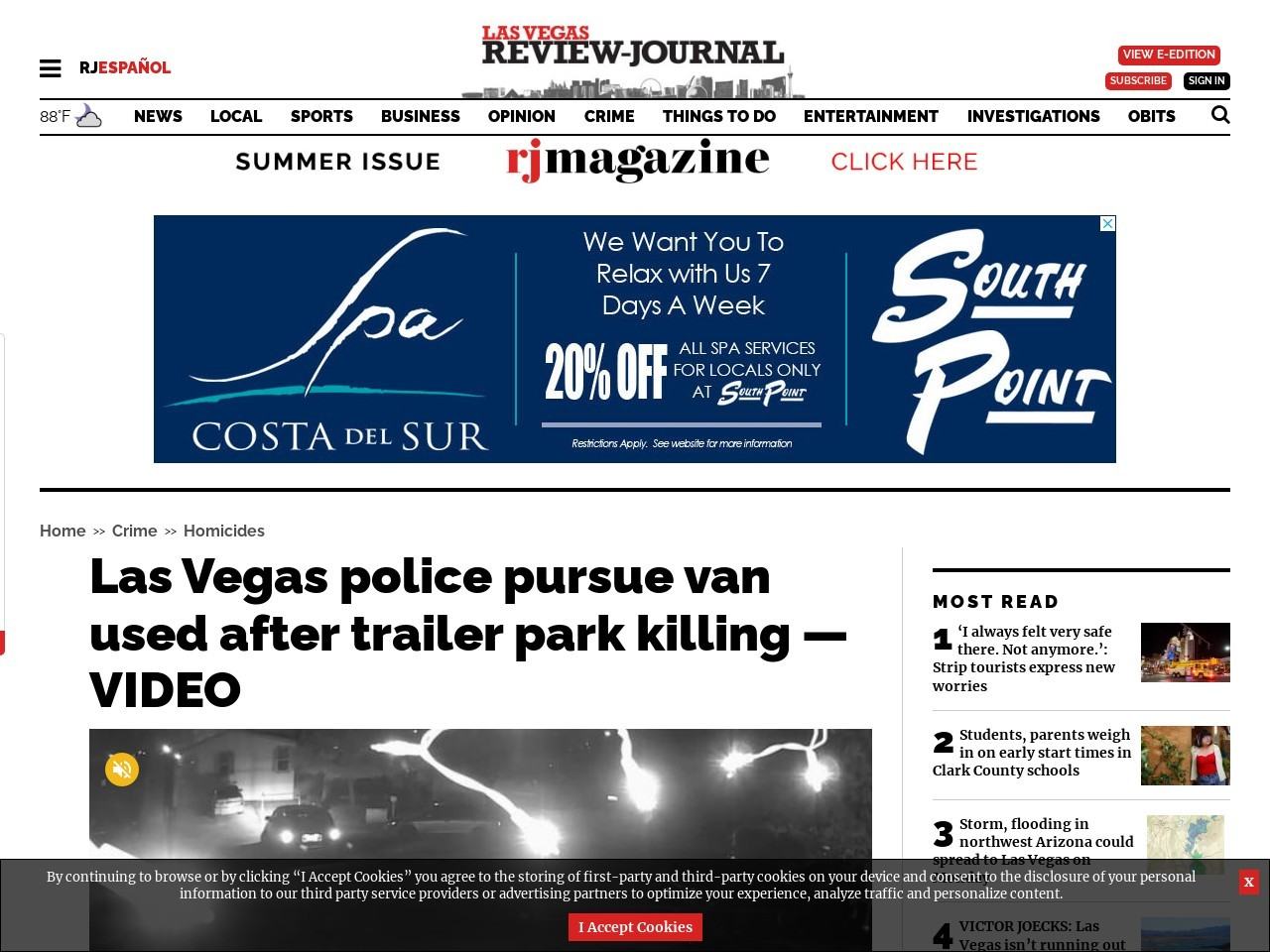 Las Vegas police pursue van used after trailer park killing