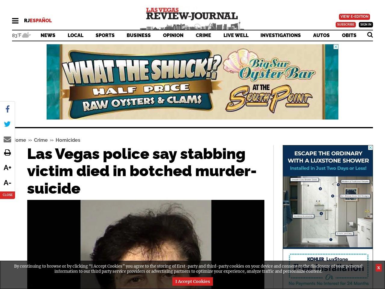 Las Vegas police say stabbing victim died in botched murder-suicide