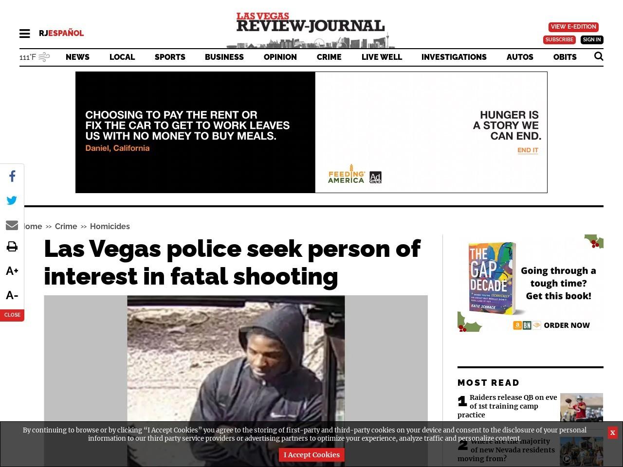 Las Vegas police seek person of interest in fatal shooting