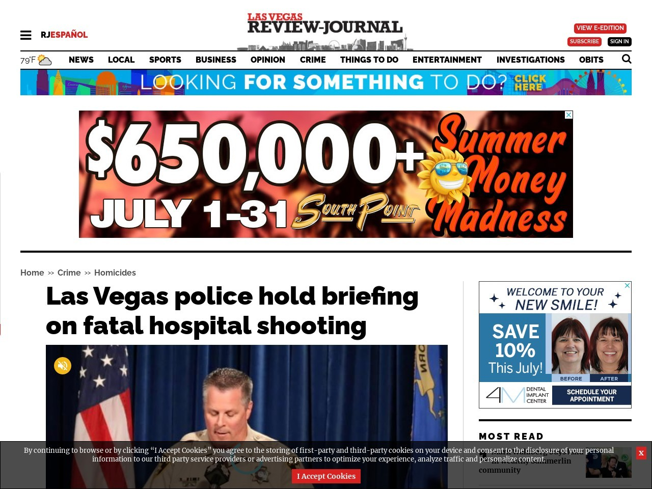 Las Vegas police to hold briefing on fatal hospital shooting
