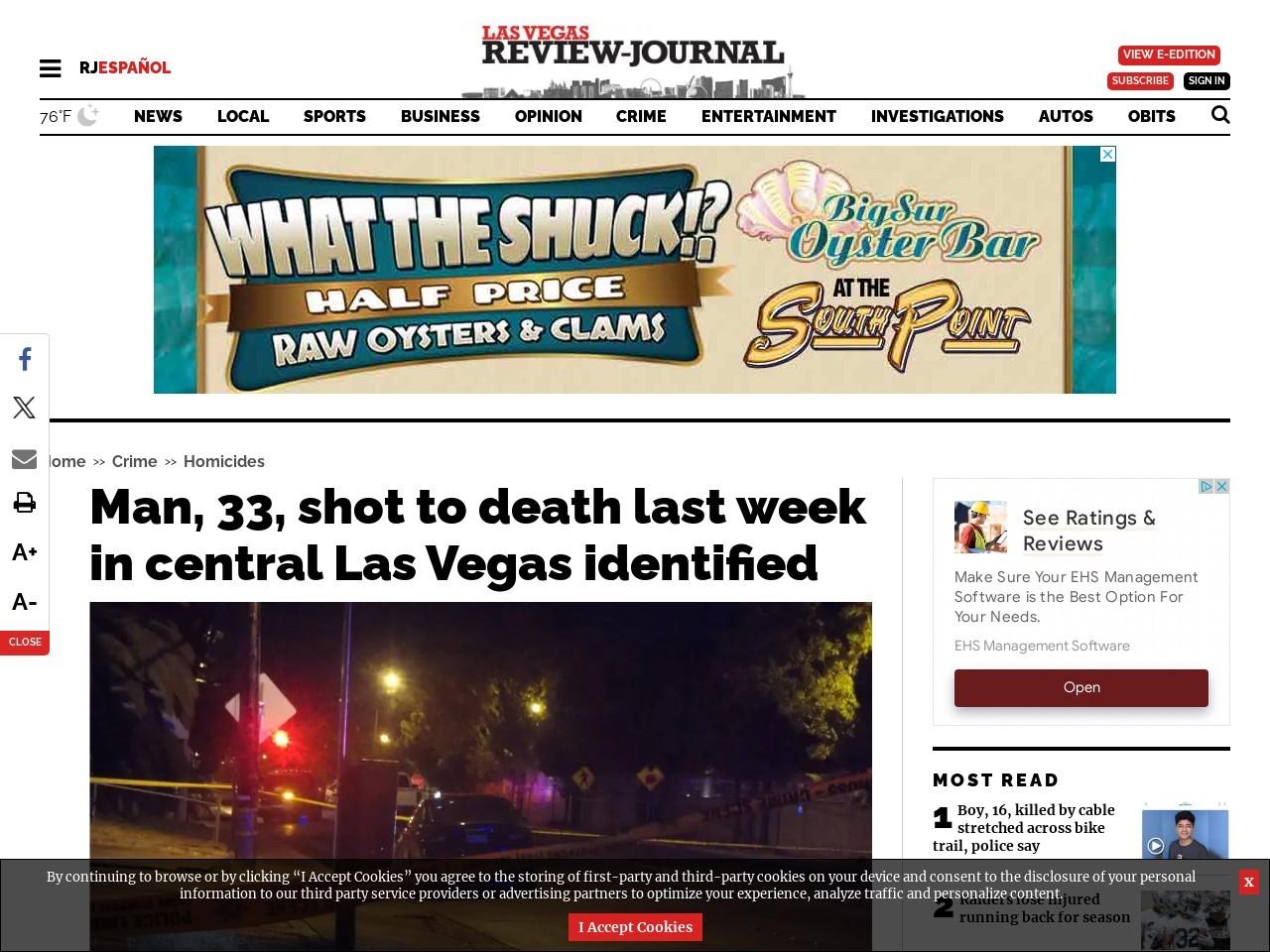 Man, 33, shot to death last week in central Las Vegas identified