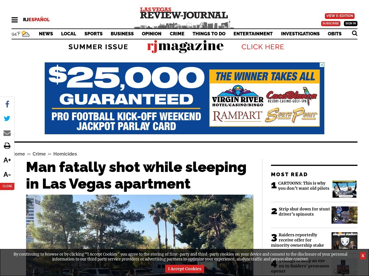 Man dies in shooting at central Las Vegas apartment complex