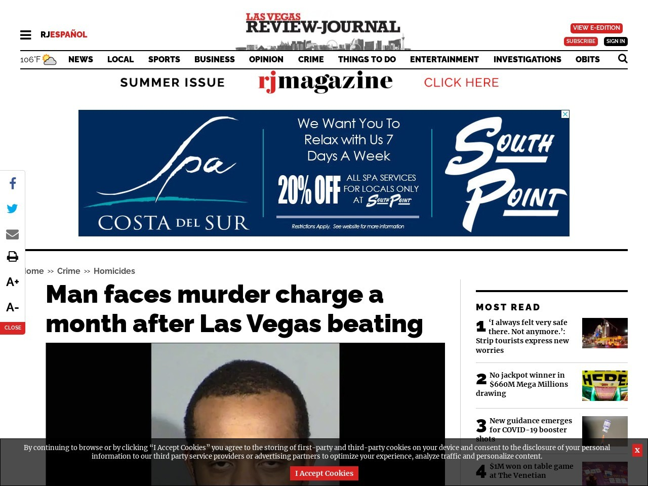 Man faces murder charge a month after Las Vegas beating