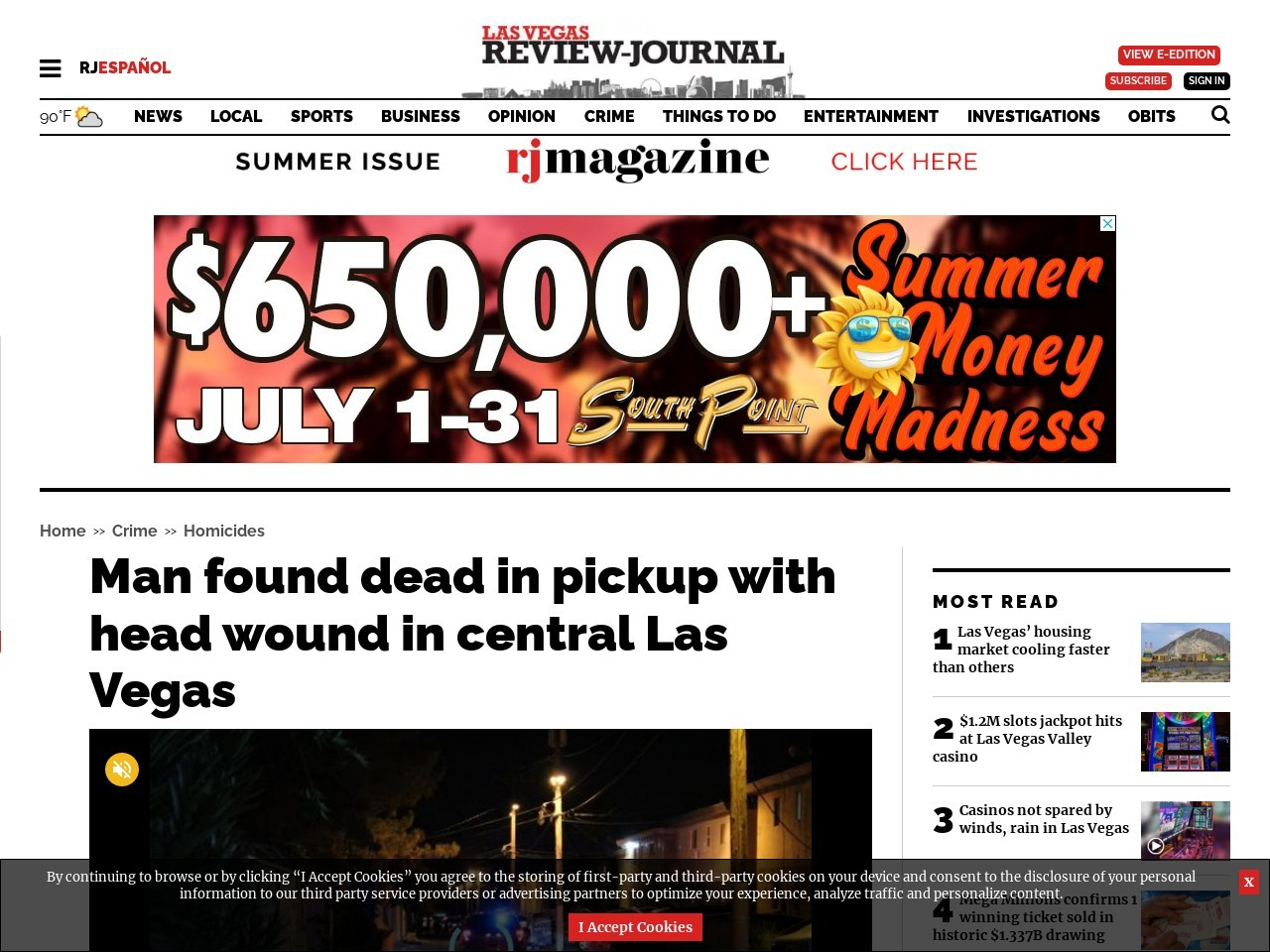 Man found dead in pickup with head wound in central Las Vegas