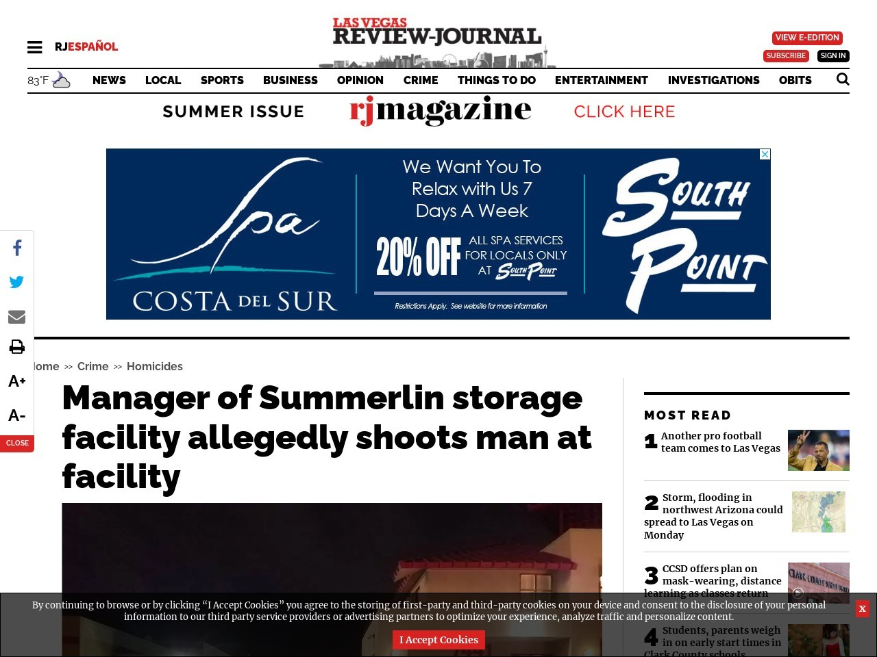Manager of Summerlin storage facility allegedly shoots man at facility