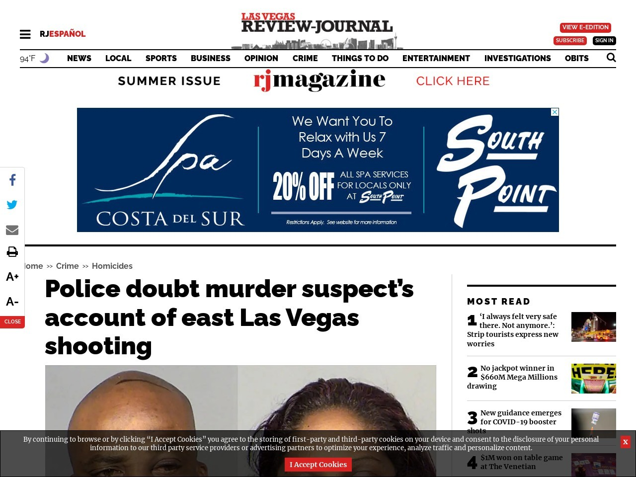 Police doubt murder suspect's account of east Las Vegas shooting