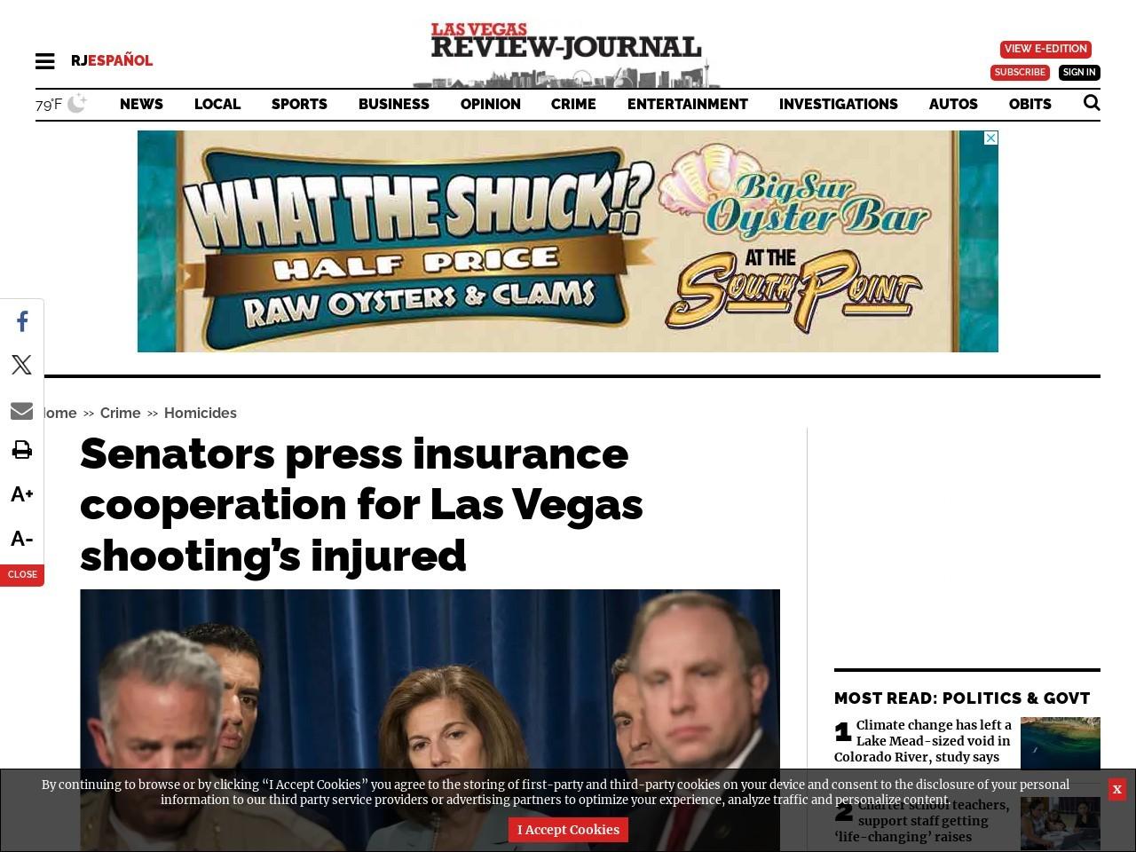 Senators press insurance cooperation for Las Vegas shooting's injured