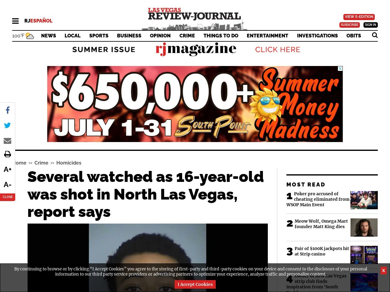 Several watched as 16-year-old was shot in North Las Vegas, report says