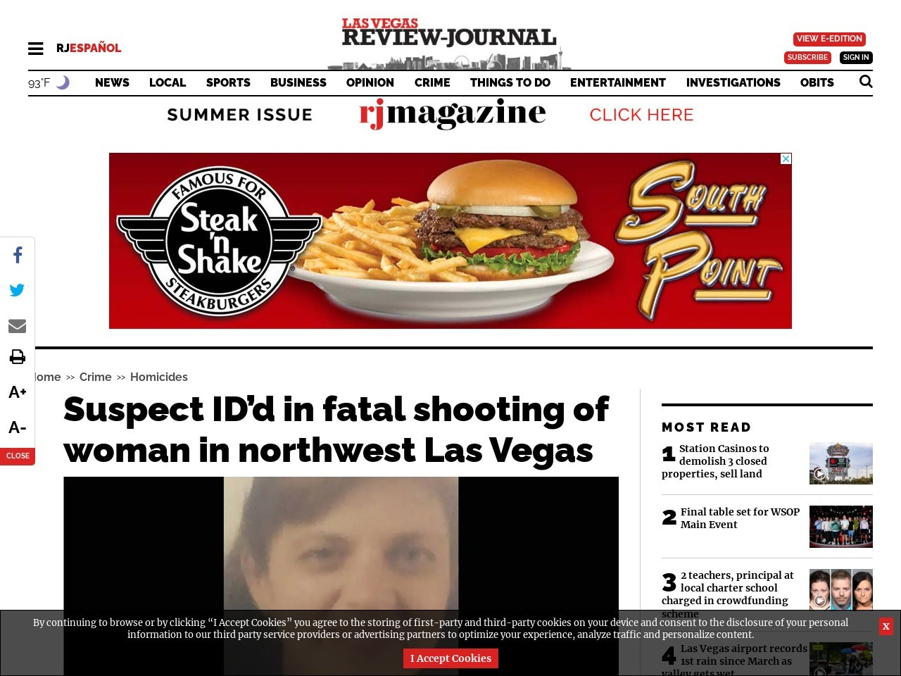 Suspect ID'd in fatal shooting of woman in northwest Las Vegas