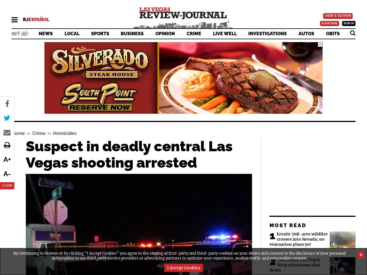 Suspect in deadly central Las Vegas shooting in custody