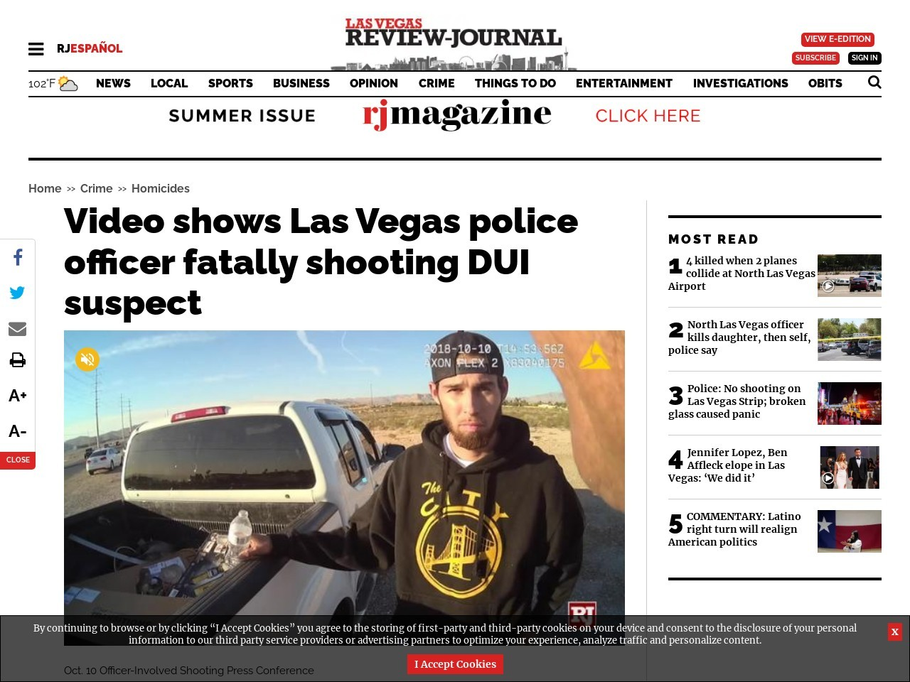 Video shows Las Vegas police officer fatally shooting DUI suspect