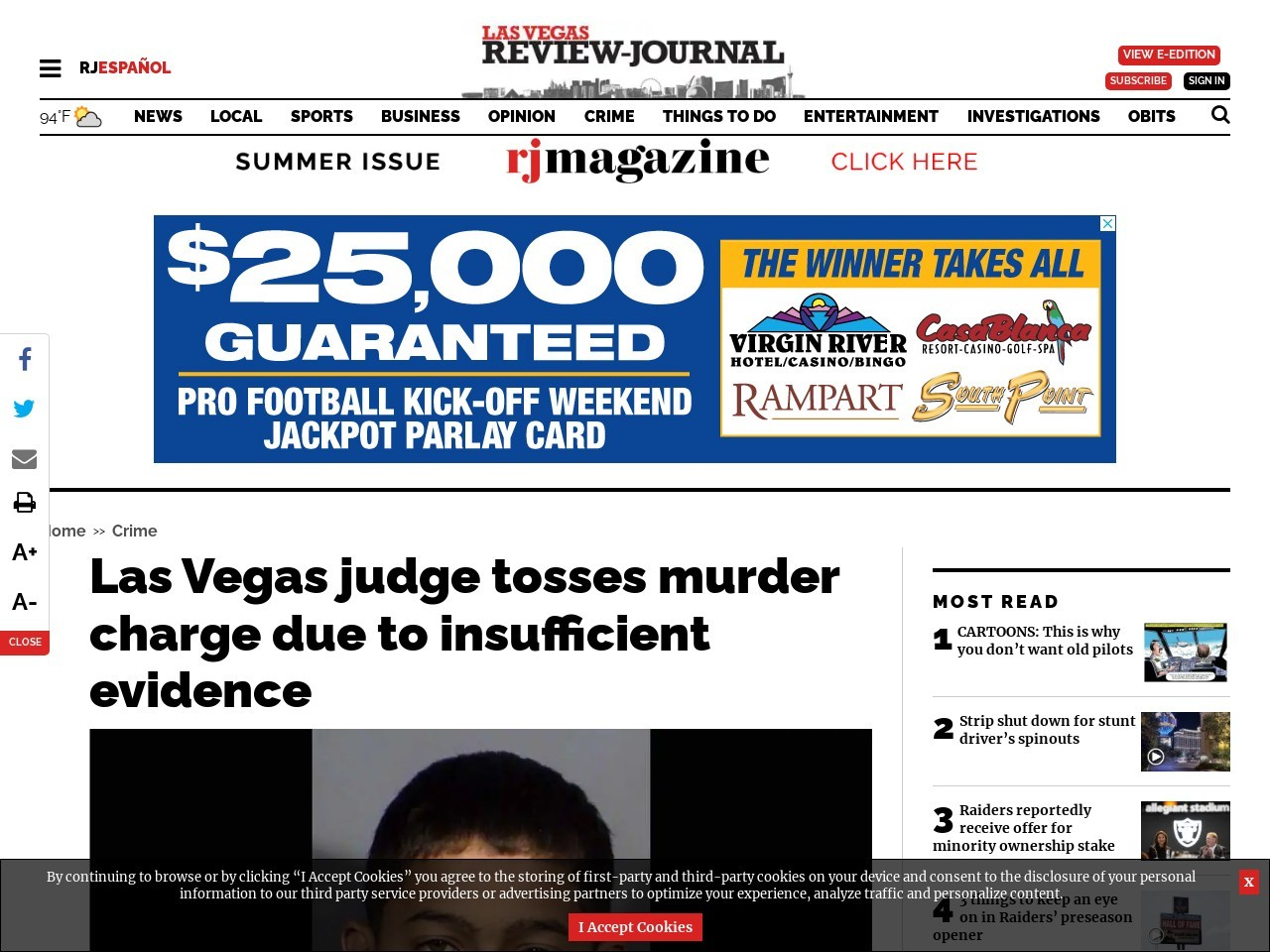Las Vegas judge tosses murder charge due to insufficient evidence
