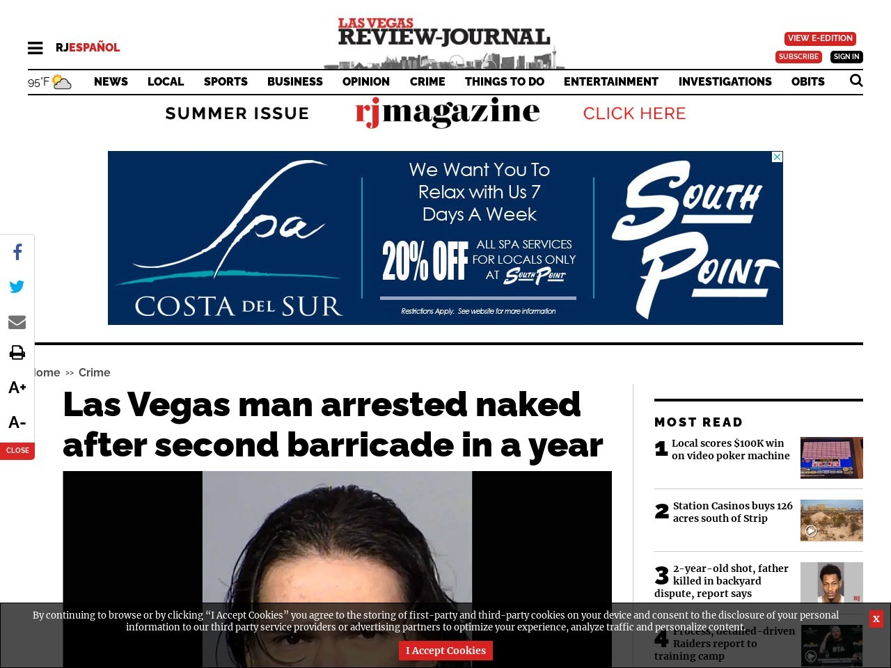 Las Vegas man arrested naked after second barricade in a year