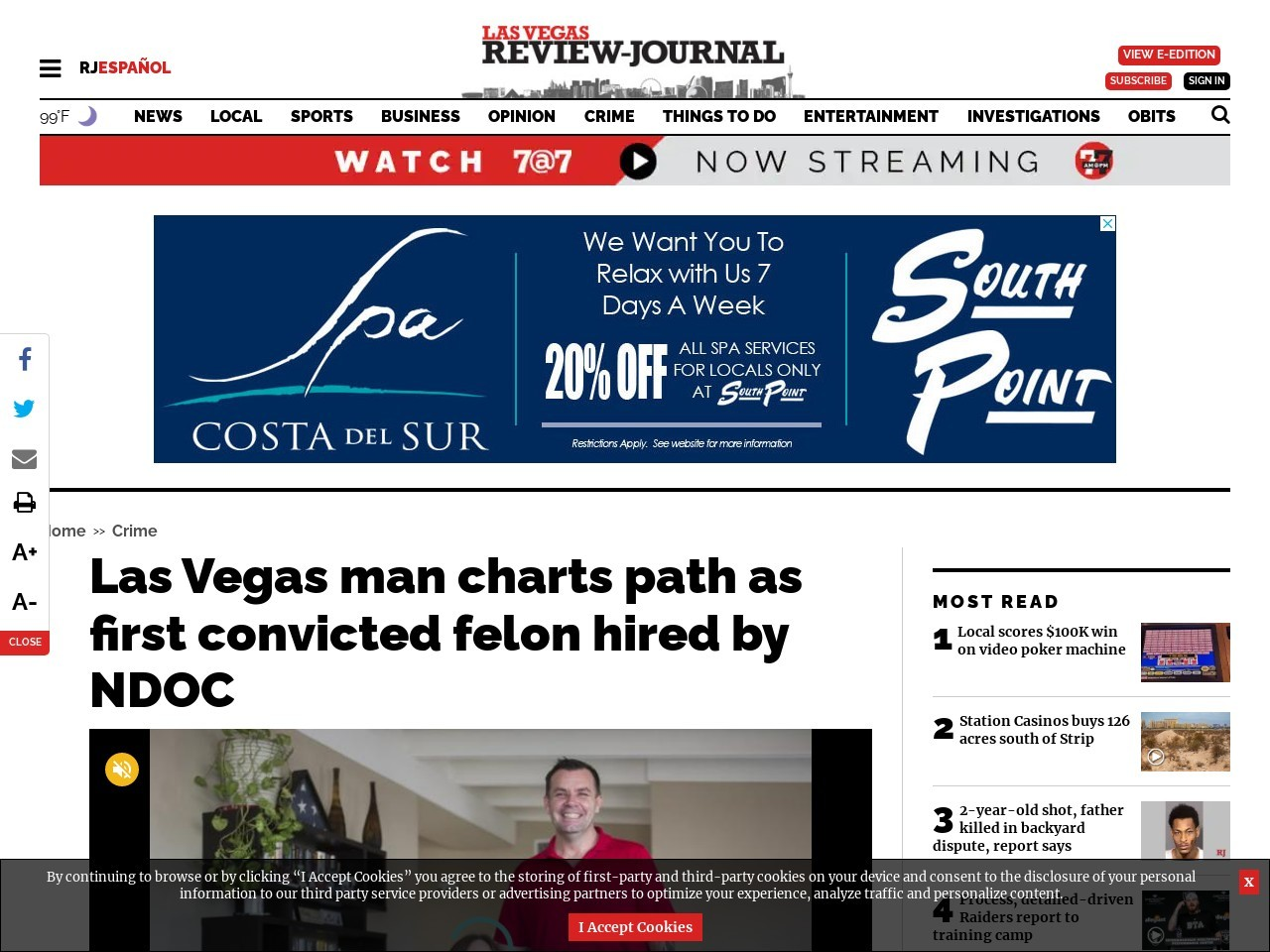 Las Vegas man charts path as first convicted felon hired by NDOC