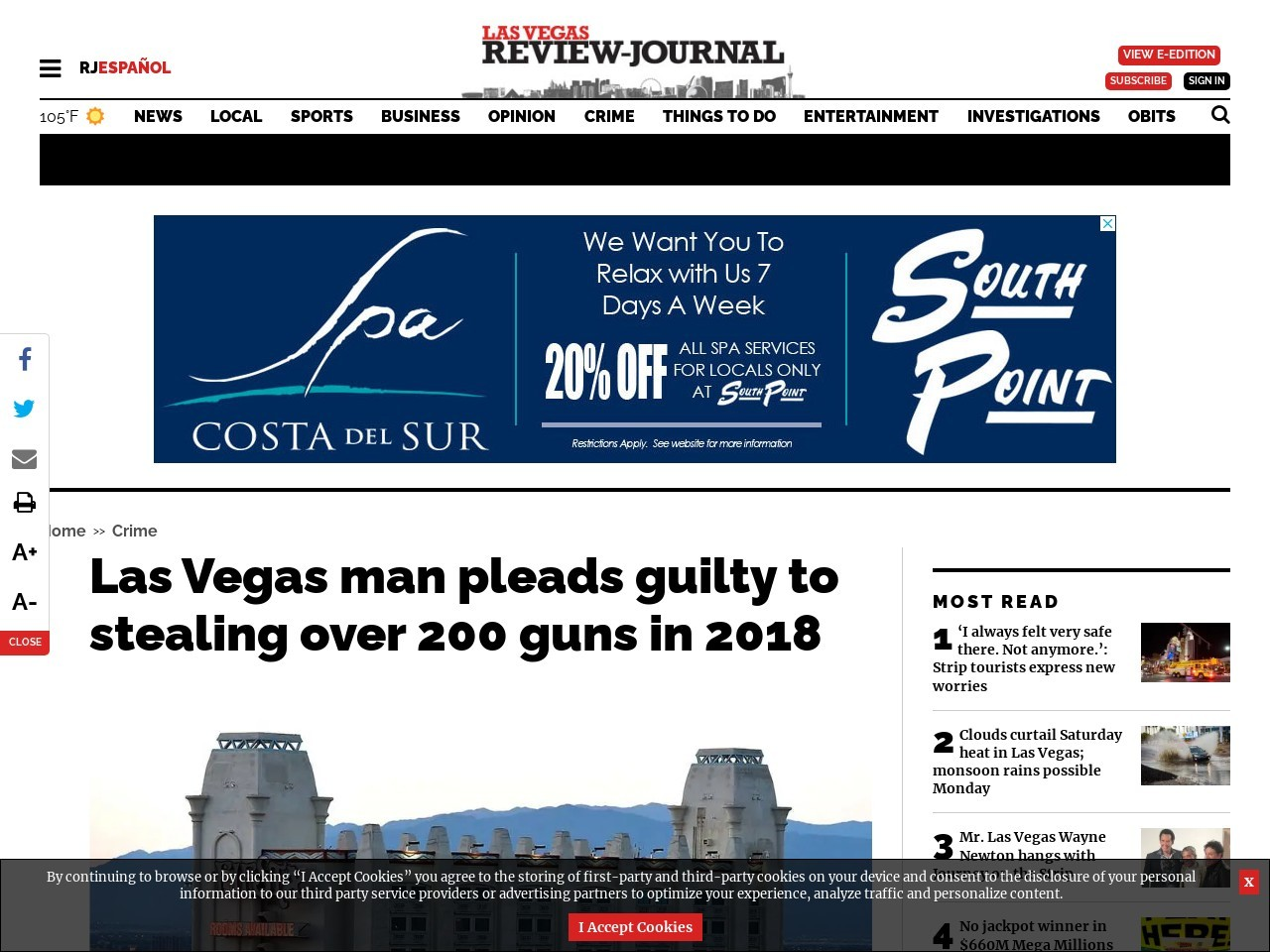Las Vegas man pleads guilty to stealing over 200 guns in 2018