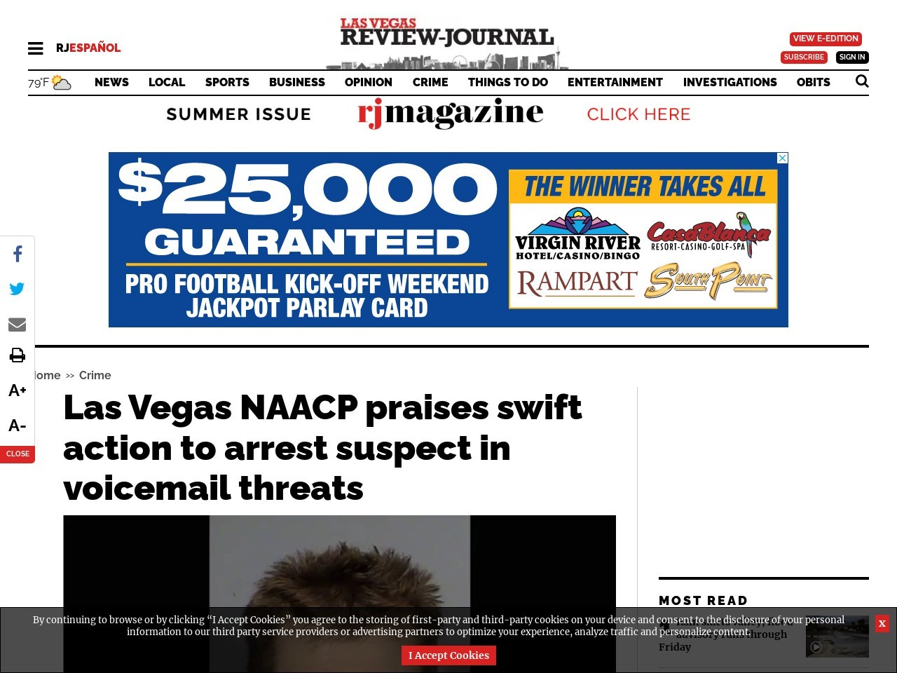 Las Vegas NAACP praises swift action to arrest suspect in voicemail threats