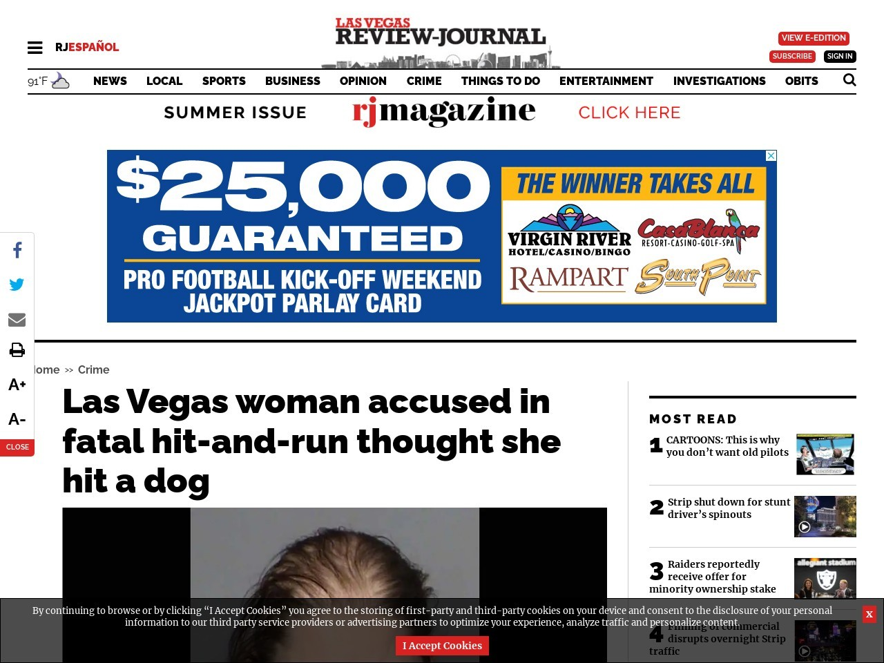 Las Vegas woman accused in fatal hit-and-run thought she hit a dog