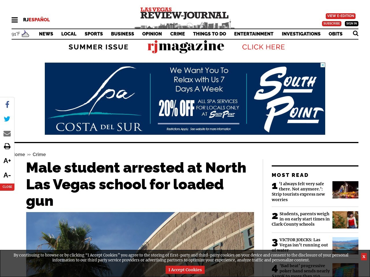 Male student arrested at North Las Vegas school for loaded gun