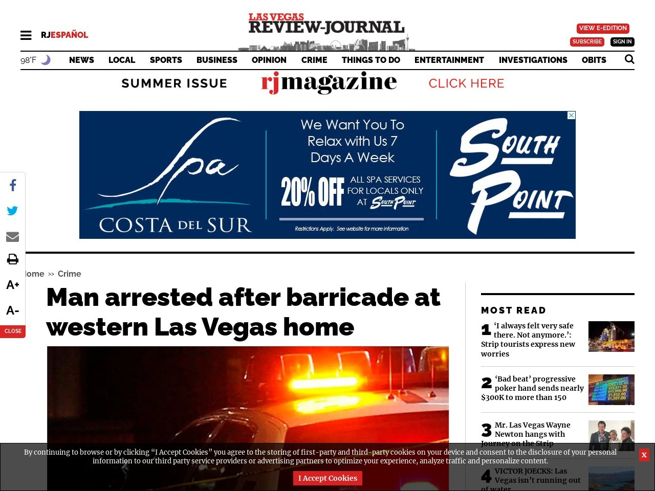 Man arrested after barricade at western Las Vegas home