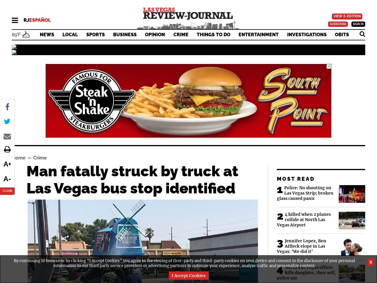 Man fatally struck by truck at Las Vegas bus stop identified