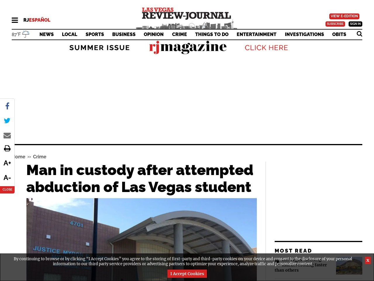 Man in custody after attempted abduction of Las Vegas student