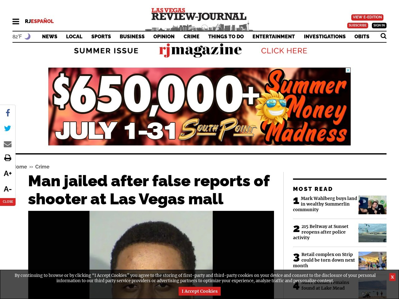 Man jailed after false reports of shooter at Las Vegas mall