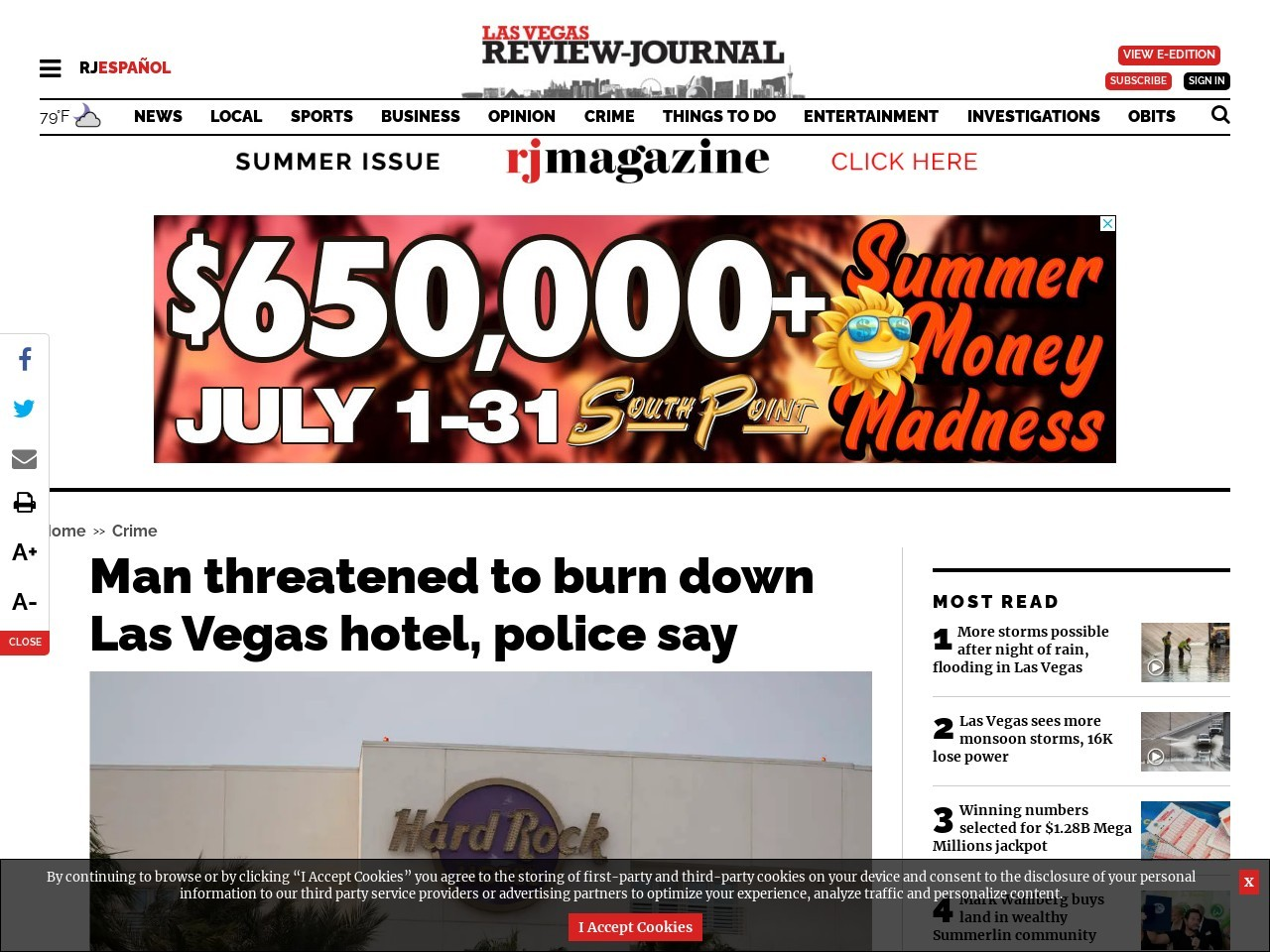 Man threatened to burn down Las Vegas hotel, police say