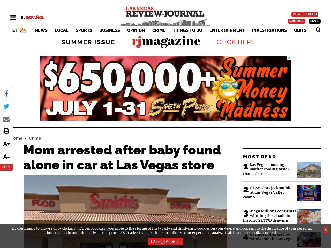 Mom arrested after baby found alone in car at Las Vegas store