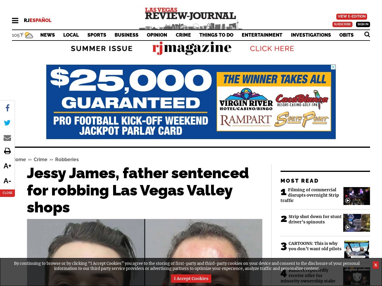 Jessy James, father sentenced for robbing Las Vegas Valley shops