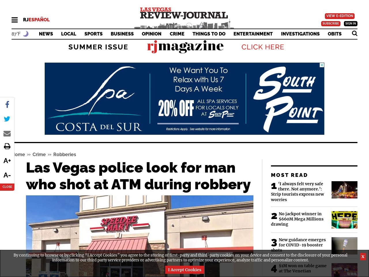 Las Vegas police look for man who shot at ATM during robbery