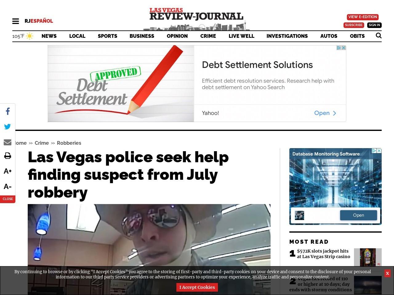 Las Vegas police seek help finding suspect from July robbery