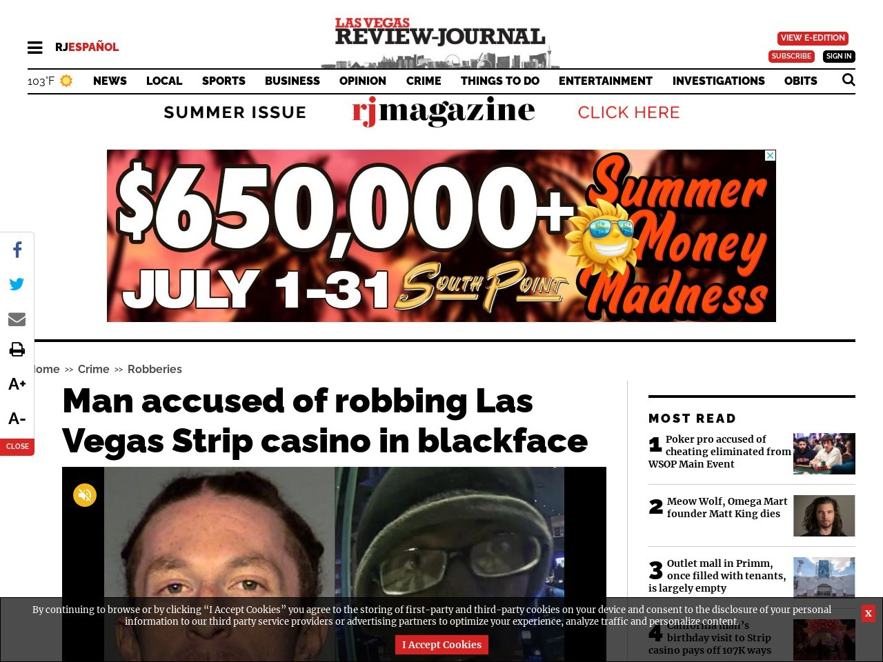 Man accused of robbing Las Vegas Strip casino in blackface