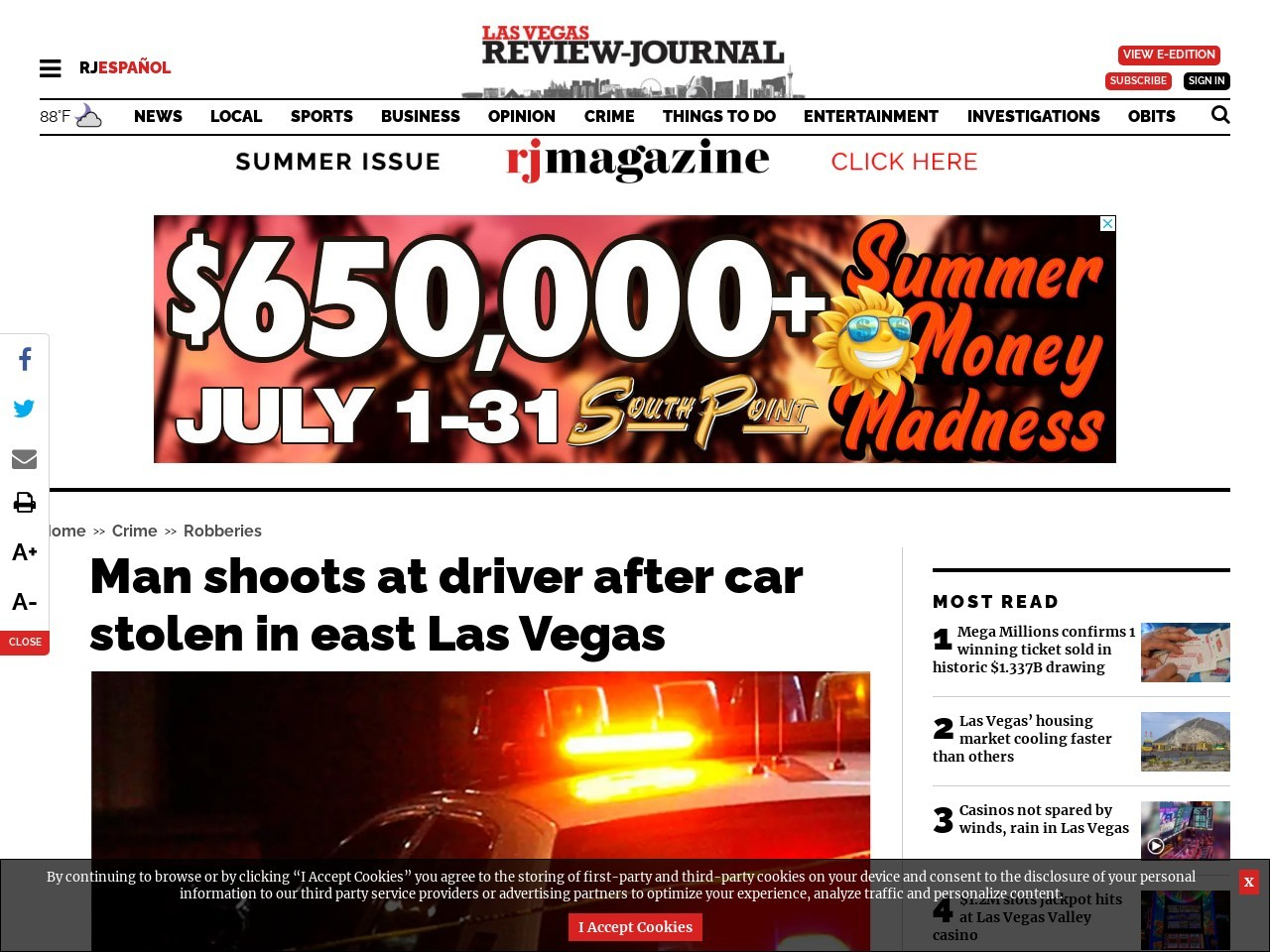 Man shoots at driver after car stolen in east Las Vegas
