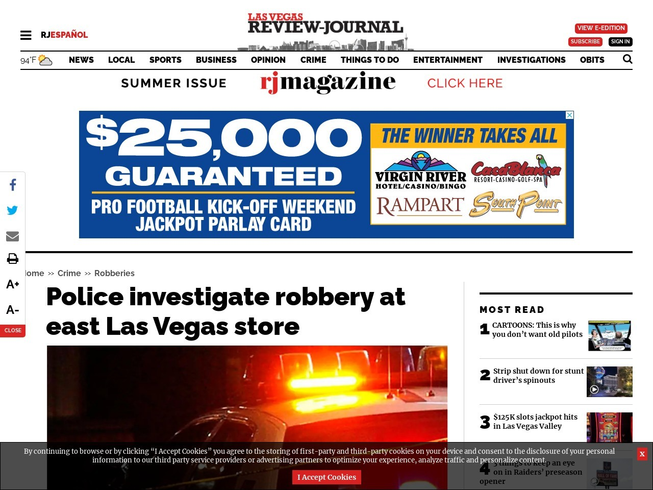 Police investigate robbery at east Las Vegas store
