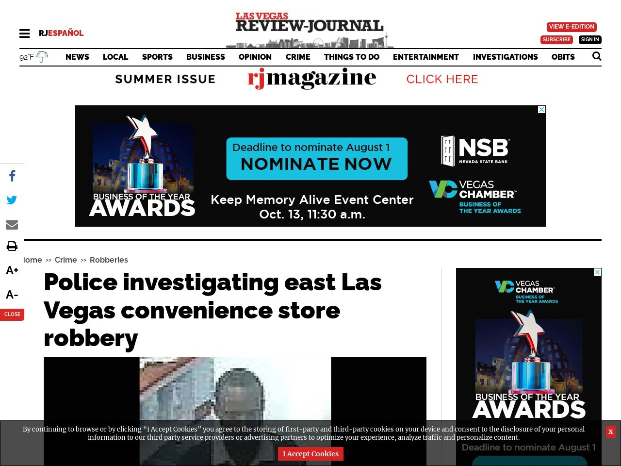 Police investigating east Las Vegas convenience store robbery