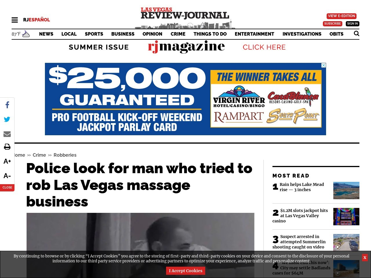 Police look for man who tried to rob Las Vegas massage business
