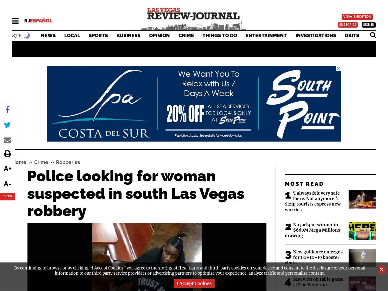Police looking for woman suspected in south Las Vegas robbery