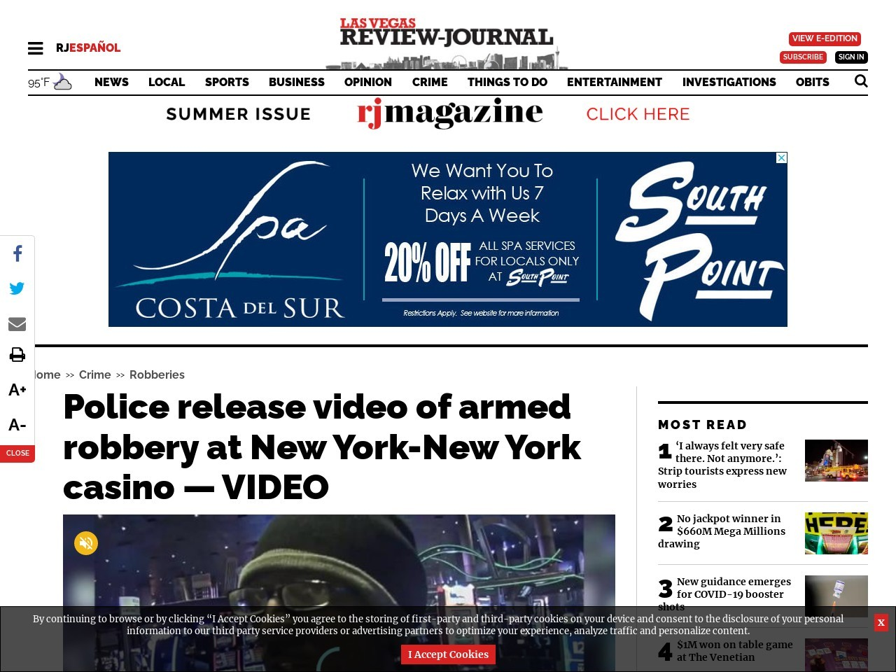 Police release video of armed robbery at New York-New York