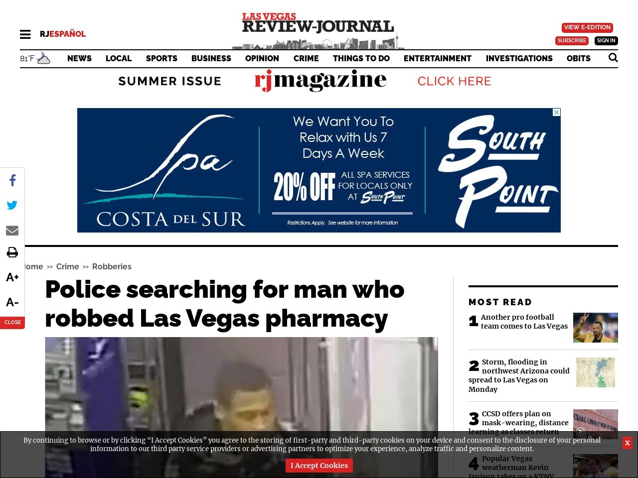 Police searching for man who robbed Las Vegas pharmacy