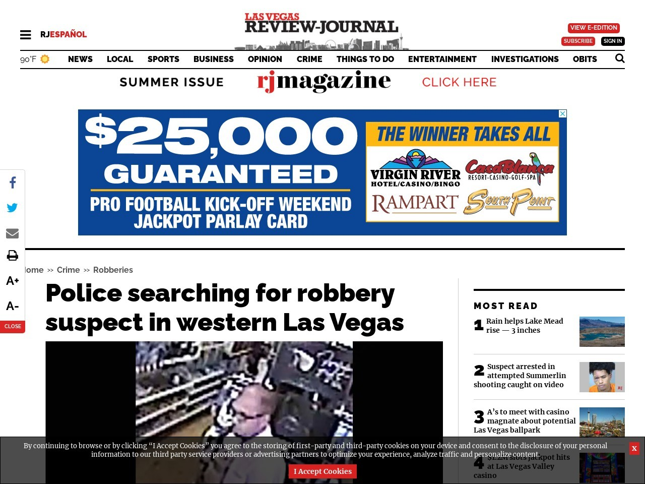 Police searching for robbery suspect in western Las Vegas
