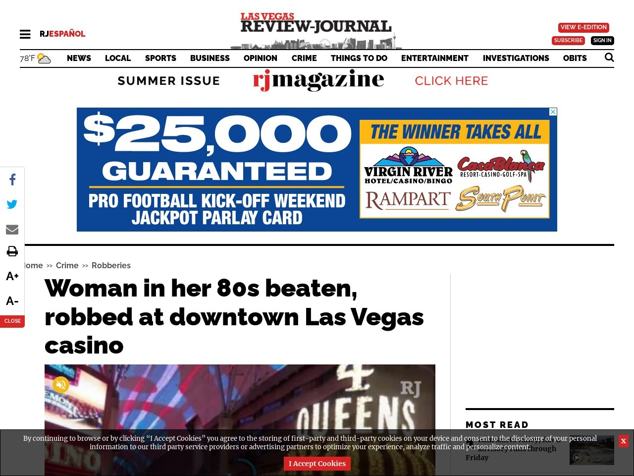 Woman in her 80s beaten, robbed at downtown Las Vegas casino